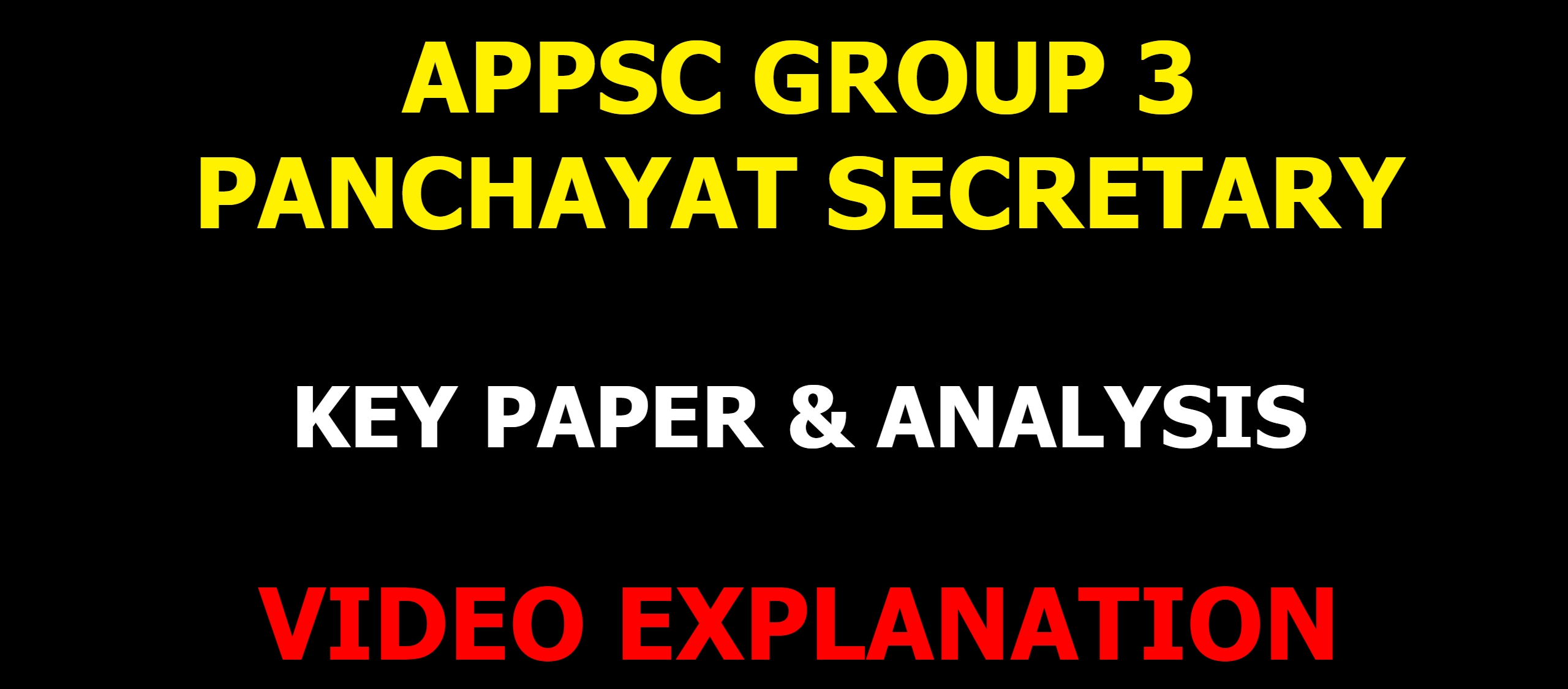 appsc group 3 panchayat secretary exam 2019 key paper video explanation